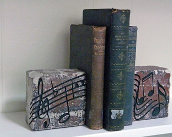 Music Engraved Clay Brick Bookends