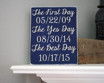 "12x14"" Love Dates Wood Sign - Wedding - Gift - Yes Day - Best Day - First Day - Love - Family - Wedding Gift - Anniversary - Home Decor"
