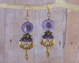 Purple Czech Glass Flower Golden Fairy Faerie Earrings