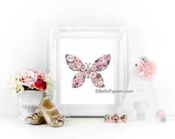 Button Art PRINT Butterfly Button Butterfly Swarovski Butterfly Baby Girl Teenage Girl Room decor Pink Butterfly  wall art silver sparkly