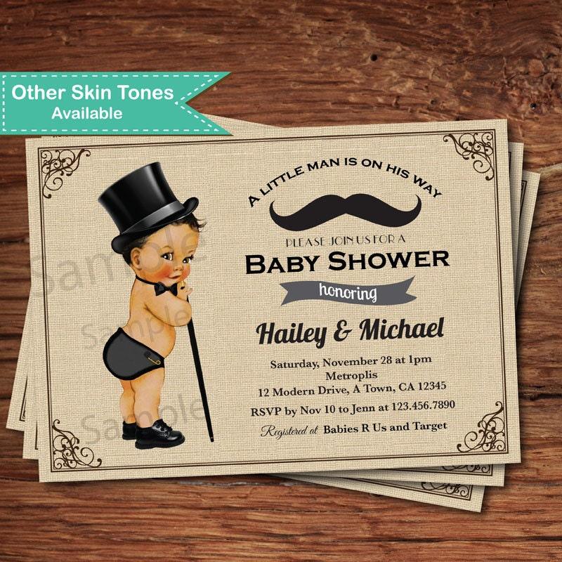 Mustache baby boy shower invitation. Vintage little man top