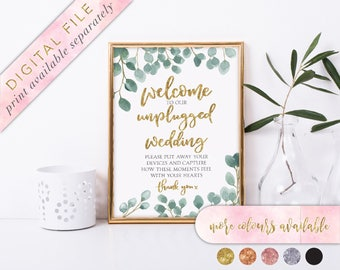 Unplugged Ceremony Sign, Printable, Unplugged Wedding Sign, No Cell Phones Sign, No Cameras Sign, Social Media Under Wraps, Foliage