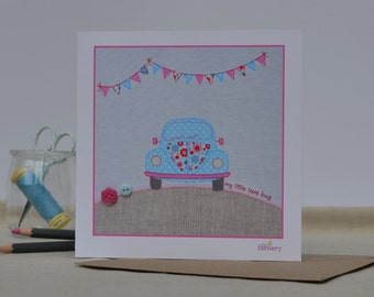 Fine Art Card 'My Little Love Bug' embellished with buttons