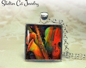 """Violin and Saxophone Abstract Necklace - 1"""" Square Pendant or Key Ring - Handmade Wearable Photo Art Jewelry - Colorful Music, Musician Gift"""