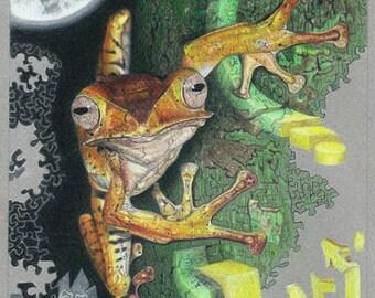 """Tree Frog Original Art Print  8 5/8"""" W X 11 1/2"""" H on 9 X 12 art paper"""