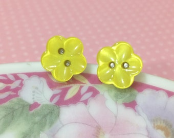Yellow Flower Stud Earrings, Yellow Post Earrings, Pearly Yellow Flower Button Earrings Scooped Petals, Yellow Button Studs (LB1)