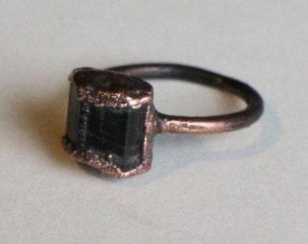 Black Tourmaline Ring   Raw Tourmaline Ring   Stacking Tourmaline Ring   Black Stone Ring   Tourmaline Jewelry   Protection Ring