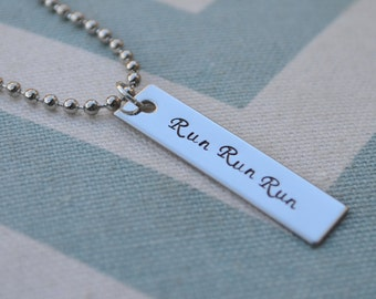 Hand Stamped Running Jewelry - Run Run Run - Marathon - 5K - Half Marathon - Triathlon - Run Girl - 10K - Custom Wording Available