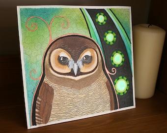 Original Mysterious Brown Wood Owl Totem