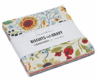 INSTOCK  Biscuits and Gravy Charm Pack by Basic Grey- Moda