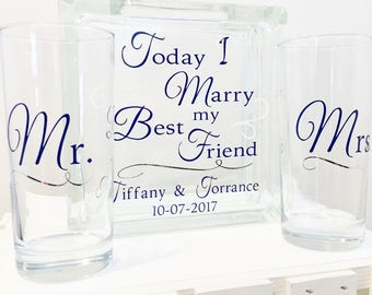 "Unity Sand Ceremony Glass Containers - Glass Block with ""Today I Marry my Best Friend "" - Personalized - Side vessels Mr. Mrs. Navy White"
