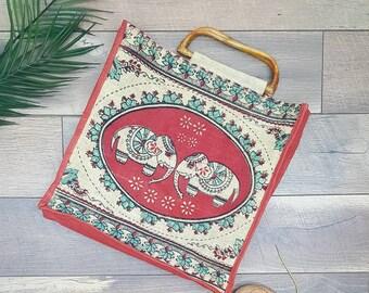 70s Vintage large Handbag,could be used as a marketbag,elephant design,summer bag