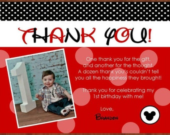 Mickey thank you cards-digital jpeg file.