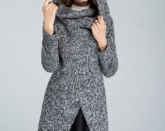 Short wool coat, spring coat, Cowl neck coat, womens coat, asymmetrical coat, winter coat, hooded coat, plus size coat, gray wool coat 1635