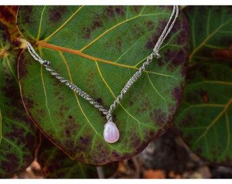 Rose Quartz Macrame Necklace, Rose Quartz Necklace
