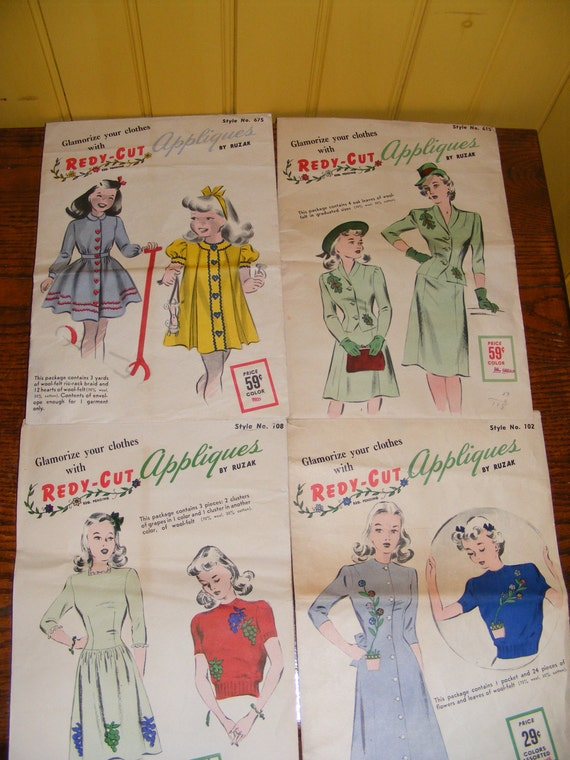 Vintage 1940s Sewing Appliques Patterns War Years Ready-Cut Felt 4 ...