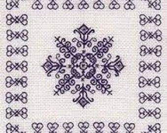Evening Star – Geometric Blackwork kit. Monochrome design using black thread. 22 count Aida fabric. Complete Kit, English Instructions. 11cm