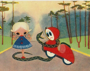 Unused vintage cartoon postcard with girl and snake - little motorbike - Soviet Postcard from 60s - Soviet Illustration