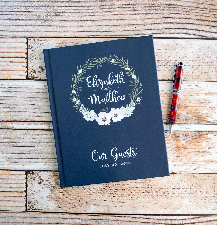 Custom Wedding Guest Book New Design Personalized Bride: Wedding Guest Book Personalized Wedding Guestbooks Custom Navy