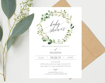 Baby shower template etsy greenery baby shower invitation template printable baby shower invite floral baby shower invitation template filmwisefo Gallery