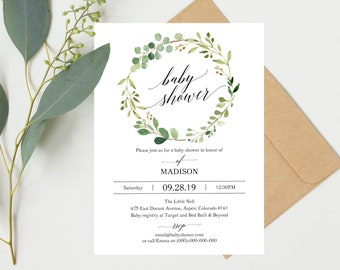 Greenery Baby Shower Invitation Template, Printable Baby Shower Invite,  Floral Baby Shower Invitation Template