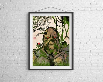 Swamp Thing, The Swamp Thing,comics,dc,comic,nerd, 11x14, Print, Artwork, Painting,Decor,Surreal,Art,geek