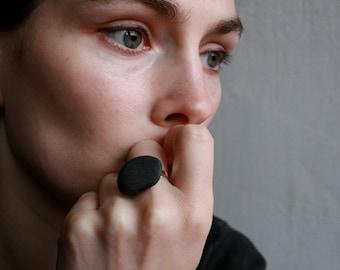 Black Pebble Ring - Minimalist Stone Jewelry - Baltic Sea - Zen