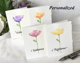 Painted Watercolor Flower Cards - Floral Notecards Hand Painted - Flower Art Cards - Original Painting - Personalized - Poppy - 4 Notecards