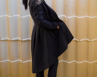Winter Coat/ Cashmere Coat/ Black Maxi Wool Coat/ Women's Clothing/ Extravagant Womens coats/ Long Coat/ Plus Size Coat by YoLineXL