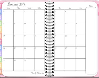 2018 Monthly Planner - Digital Awesome Planner for iPad - PDF Tablet Planner in Pink with Note Pages