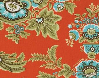 FAT QUARTER  Amy Butler Fabric, Royal Garden in Clay, Orange, Blue, Bird 100% Cotton