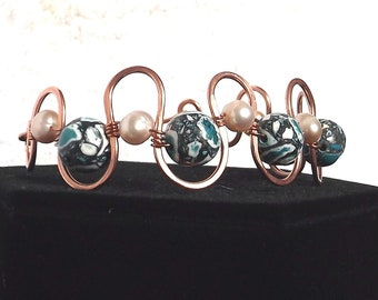 Bracelet, Turquoise Mosaic Stone and Freshwater Pearl Copper Wire