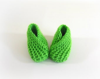 Newborn Knit Booties, Socks, Slippers, Shoes in Spring Green