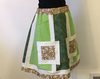Small Medium Color Blocked Patchwork Calico Skirt • Green • 4 Pockets • Apron • Hippy Hippie • Grateful Dead • Phish • BOHO • Peasant