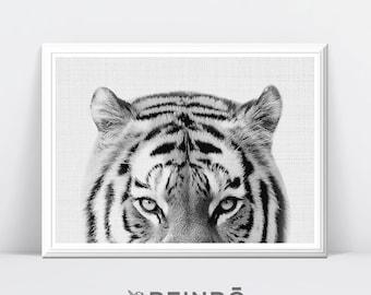 Tiger Photography, Black and White Tiger Print, Nursery Decor, Safari Animal, Safari Wall Art, Nursery Safari Decor, Printable Safari Art