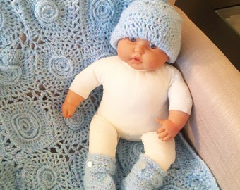 Organic Baby Crochet Blanket and Knit Hat and Booties Set
