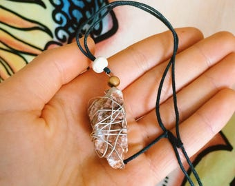 Raw Agate stone pendant with natural beads and silver wire chain