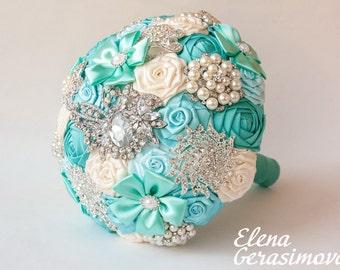 Brooch Bouquet. Ivory mint blue Fabric Bouquet, Unique Wedding Bridal Bouquet