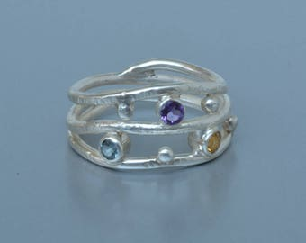 Mother's Ring in Silver, Multi Stone Ring, Handmade Birthstone Ring, Made to Order, Gift for Her