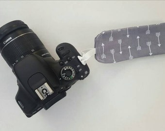 Camera Strap Gray Fabric Tribal Arrow Wrist Strap for DSLR