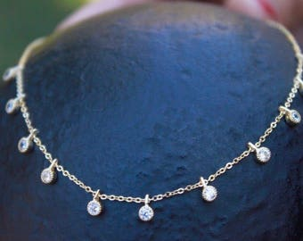 Dangling cz necklace , solitaire necklace , layered necklace , gemstone necklace , wire wrapped necklace , gift for her , bridesmaid gift