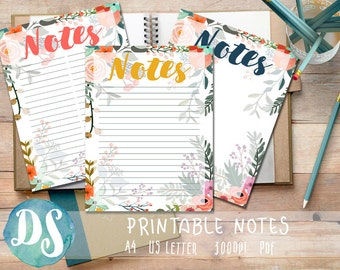 Printable Note Paper - Floral Design - PDF, A4, Letter, List, No Lines, with lines