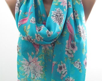 Mothers Day Gift For Her Floral Scarf Shawl Blue Scarf Bird Scarf    Autumn Winter    Wife  Sister Aunt Girlfriend Gift For Mom Holiday