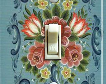 Turquoise Rosemaling Poster Decorative Switch Plate  ***FREE SHIPPING***