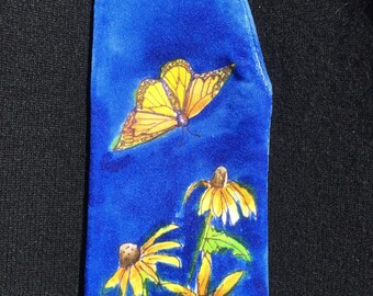 Handpainted Silk Eye Glass Case with Butterfly and Daisies Design