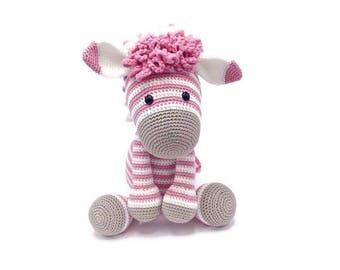 Crocheted stuffed animal zebra