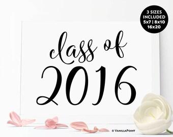 Printable Class Of 2016 Sign, Class Reunion Decorations, Reunion Party Supplies, Reunion Party Centerpieces, High School Reunion Rustic Sign