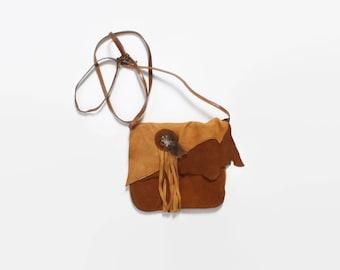 Vintage 70s Leather PURSE / 1970s Deerskin Native StyleFeathered Boho Shoulder Bag