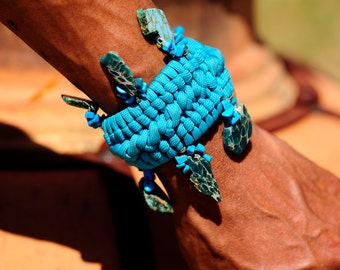 Paracord Bracelet, Woven Bracelet Tibetan Turquoise, Braided Jewelry, Healing Energy Stones, Turquoise Bracelet