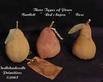 Primitive Three Types Of Pears Bowl Filler Cupboard Tucks Instant Digital Download E-Pattern  ET